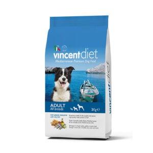 """מזון כלבים וינסנט דיאט בוגר על בסיס עוף ודגים כחולים 3 ק""""ג-0"""