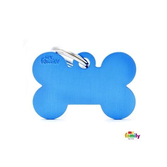 תג שם אלומיניום - עצם גדולה בצבע כחול-0