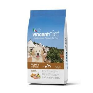 """מזון כלבים וינסנט דיאט גורים על בסיס עוף 3 ק""""ג-0"""