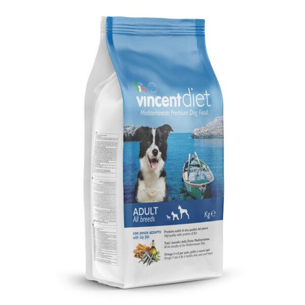 """מזון כלבים וינסנט דיאט דגים כחולים 15 ק""""ג-0"""