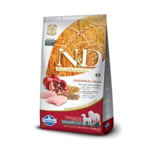 """מזון כלבים נטורל אנד דלישס מופחת דגנים סניור עוף ורימון 12 ק""""ג-0"""