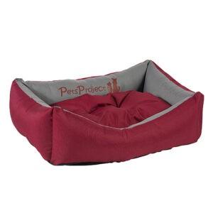 מיטה לכלב דוחת מים פטס-פרוג'קט מידה l צבע בורדו עם בז'-0