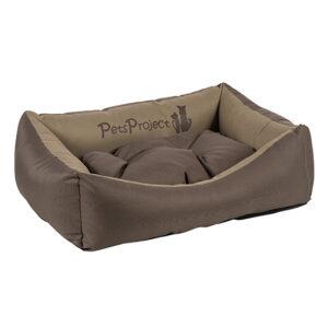 מיטה לכלב דוחת מים פטס-פרוג'קט מידה m צבע חום עם בז'-0