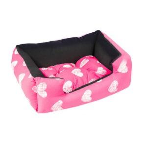 מיטה לכלב פטס-פרוג'קט מידה m צבע ורוד לבבות-0