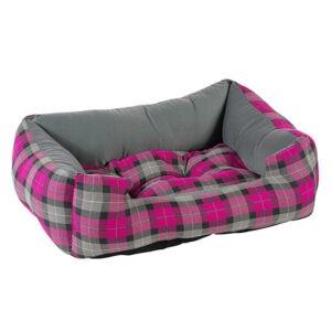מיטה לכלב פטס-פרוג'קט מידה m צבע סגול רבועים-0