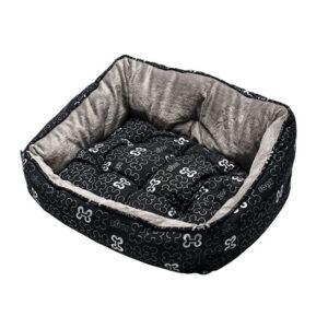 מיטה לכלב רוגז אופנתית מידה s צבע שחור עצמות-0