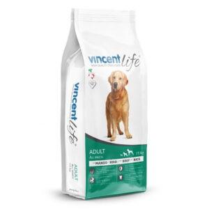 """מזון כלבים וינסנט לייף בקר לכלב בוגר 15 ק""""ג-0"""