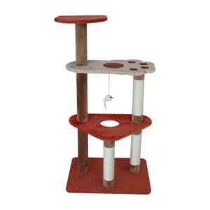מתקן גירוד לחתולים 3 קומות משולש אדום-0