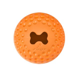 צעצוע לכלב רוגז כדור גומי לעיסה קטן צבע כתום-0