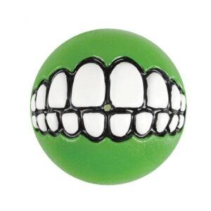 צעצוע לכלב רוגז כדור גומי חייכן קטן צבע ירוק ליים-0