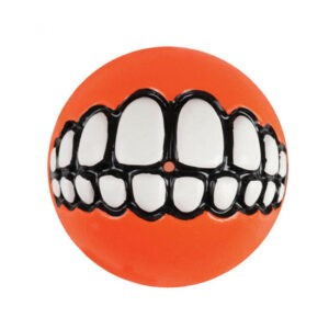 צעצוע לכלב רוגז כדור גומי חייכן גדול צבע כתום-0