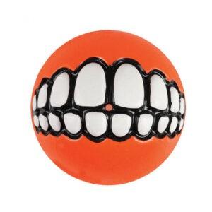 צעצוע לכלב רוגז כדור גומי חייכן בינוני צבע כתום-0