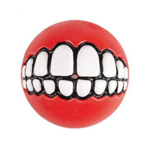 צעצוע לכלב רוגז כדור גומי חייכן קטן צבע אדום-0
