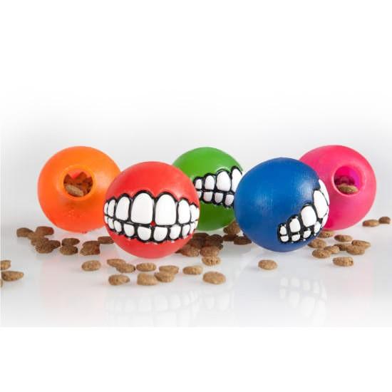 צעצוע לכלב רוגז כדור גומי חייכן קטן צבע ירוק ליים-2603