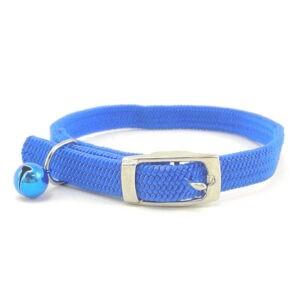 קולר אלסטי לחתול עם פעמון ואבזם ברזל - צבע כחול-0