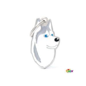 תג שם לפי גזע כלב - האסקי סיבירי אפור לבן-0