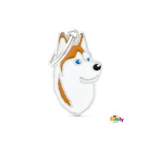 תג שם לפי גזע כלב - האסקי סיבירי חום לבן-0