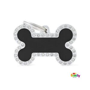 תג שם לכלב - גלאם צורת עצם צבע שחור משובץ אבני סברובסקי גדול-0