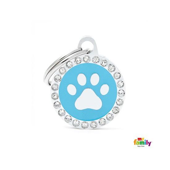 תג שם לכלב - גלאם עגול עם כף יד צבע תכלת משובץ אבני סברובסקי-0