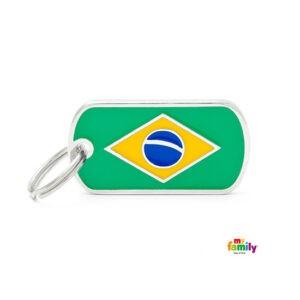 תג שם לכלב - דגל ברזיל-0