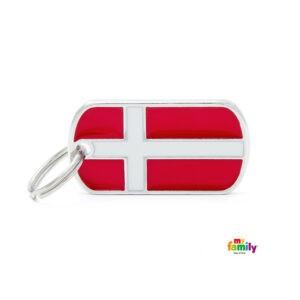 תג שם לכלב - דגל דנמרק-0