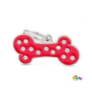 תג שם לכלב - שיק צורת עצם צבע אדום משובץ אבני סברובסקי גדול-0