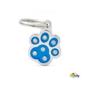 תג שם לכלב - שיק צורת כף יד צבע כחול משובץ אבני סברובסקי-0