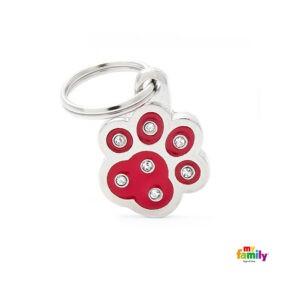 תג שם לכלב - שיק צורת כף יד צבע אדום משובץ אבני סברובסקי -0