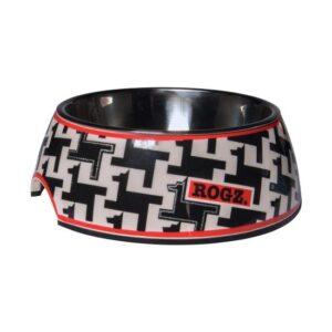 קערה מעוצבת באבל L צבע אפור שחור כתום עם עיטורי כלבים-0