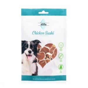 חטיף לכלב ללא סוכר פור לייף סושי עוף עם דג קוד 70 גרם-0