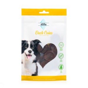 חטיף לכלב ללא סוכר פור לייף מדליוני חזה ברווז 70 גרם-0