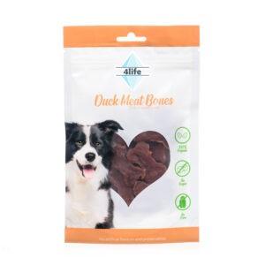 חטיף לכלב ללא סוכר פור לייף נתחי חזה ברווז בצורת עצם 70 גרם-0