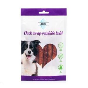 חטיף לכלב ללא סוכר פור לייף מקלוני עור בציפוי חזה ברווז 70 גרם-0