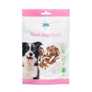חטיף לכלב ללא סוכר פור לייף סושי לבבות עוף ודג קוד 70 גרם-0