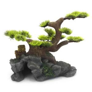 קישוט לאקווריום מערה עם עץ